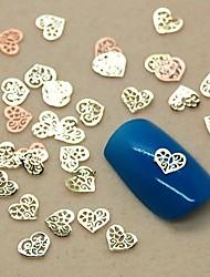 200pcs forma de coração oco fatia do metal nail art decoração