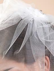 abordables -Voiles de Mariée Une couche Voiles Blush Bord coupé 10-20cm Tulle Blanc Ivoire A-ligne, Robe de bal, Princesse, Fourreau, Sirène