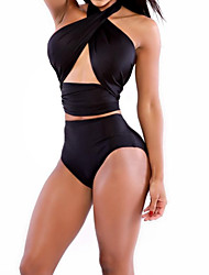 cheap EstefaniaLaguna-Women's Solid / Cross Halter Neck Black Bikini Swimwear - Solid Colored M L XL Beach / Wireless / Padless / Sexy