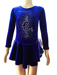 Figure Skating Dress Women's Girls' Ice Skating Dress Velvet Rhinestone Performance Practise Skating Wear Handmade Solid Long Sleeves Ice