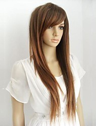cheap -Synthetic Wig With Bangs Highlighted/Balayage Hair Brown Women's Natural Wigs Long Synthetic Hair