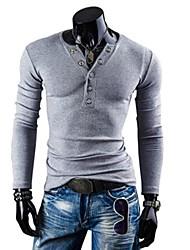 Tee-Shirt Pour des hommes Couleur plaine Décontracté Manches longues Mélange de Coton Noir / Bleu / Gris