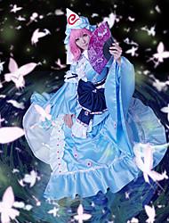Недорогие -Вдохновлен Проект Тоухоу Yuyuko Saigyouji видео Игра Косплэй костюмы Косплей Костюмы Пэчворк Платье Шапки