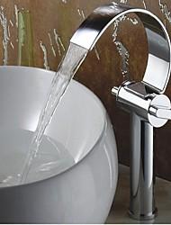 Paese Installazione centrale Cascata with  Valvola in ottone Uno Due manopole Un foro for  Cromo , Lavandino rubinetto del bagno