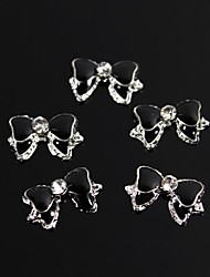 10pcs Cute Black Bowtie Diamond 3D Alloy Nail Art Decoration