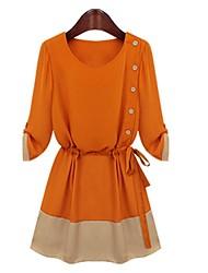 ženska tie-side šifon haljina s gumbima