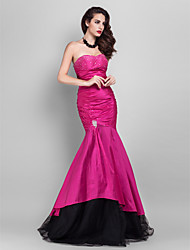 Mermaid / Trumpet Strapless Sweetheart Floor Length Taffeta Tulle Prom Dress with Ruching by TS Couture®