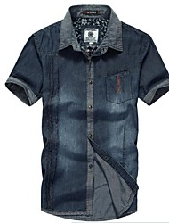Men's Daily Shirt,Solid Short Sleeves Cotton