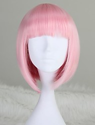cheap -Synthetic Wig Straight Pink Bob Haircut / With Bangs Synthetic Hair 12 inch Pink Wig Women's Short / Medium Length Capless Light Pink