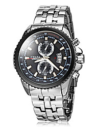 Men's Fashion Hard Case Calendar Silver Steel Band Quartz Wrist Watch Cool Watch Unique Watch