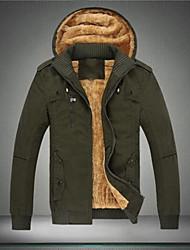Недорогие -Мужской Однотонный Куртка,На каждый день,Смесь хлопка,Длинный рукав-Черный / Зеленый / Желтый