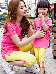 preiswerte -Family's Casual Beach Colorful Pure Cotton Long Sleeves T-Shift& Pants Parentage Clothes