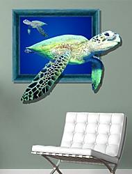Недорогие -Декоративная наклейка на стену в виде 3D черепахи