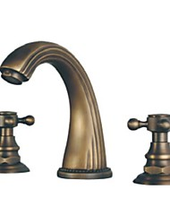 abordables -Antique Diffusion large Soupape céramique 3 trous Deux poignées trois trous for  Laiton Antique , Robinet lavabo