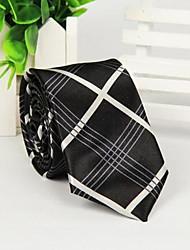 Недорогие -мужской черный и белый пересек косой полосой печати модно галстук
