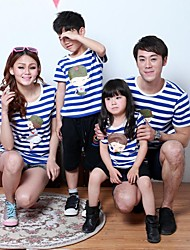 baratos -Family's Round Collar Carton Person Print And Stripe Cotton Short Sleeve T-shirt(Picture Random)