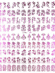 108pcs motif de fleur rose mixte métal Nail Art Stickers
