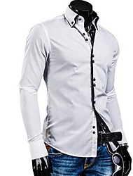 cheap -Men's White/Black/Blue Casual Stand Collar Slim Shirt
