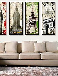 cheap -Framed Canvas Framed Set Architecture Wall Art, PVC Material With Frame Home Decoration Frame Art Living Room Bedroom Kitchen Dining Room