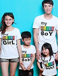 baratos -Family's Round Collar Colorful Stripe Letter Print Short Sleeve Casual T-shirt