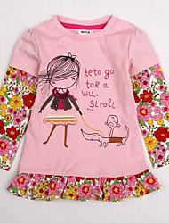 billige -T-shirt Blomstret, Bomuld Vinter Forår Efterår Langærmet Lys pink