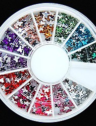 cheap -600PCS 12Colours Butterfly Shape Acrylic Rhinestones Wheel Nail Art Decoration