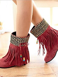 Women's Spring Fall Winter Leatherette Casual Flat Heel Tassel