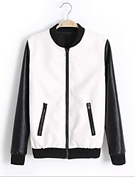 preiswerte -Women's Fashion Stand Collar Long Sleeve PU Leather Jacket