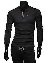мужская V шеи оболочка с длинным рукавом футболки