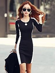 Žene Rad Korice Mini Haljina Color block Dugih rukava Okrugli izrez