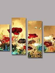 pintados à mão pintura a óleo da flor com esticada conjunto de quadros de 4