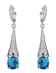 Brincos Compridos Prata de Lei Zircão Azul Jóias Para Festa Diário Casual
