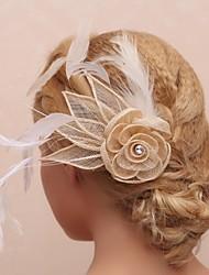 splendido tulle e piume fiore nuziale casco