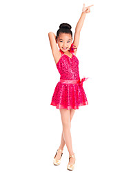 MiDee Kids' Dancewear Dresses Children's Training Spandex Sequined Tulle Ruffles Sequins Sleeveless Natural