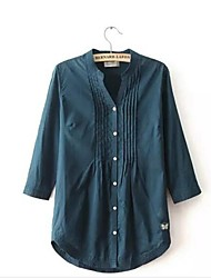 Women's Solid Blue Blouse/Shirt Long Sleeve Pleated