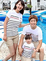 Family's Fashion Joker Leisure Parent Child Stripe Short Sleeve T Shirt