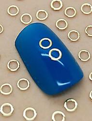 200PCS Hollow Round Shape Golden Metal Slice Nail Art Decoration