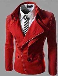 Недорогие -Мужской Полиэстер / Смесь хлопка Куртка На каждый день / Для офиса / Для торжеств и мероприятий,Однотонный,Длинный рукав,Красный / Серый