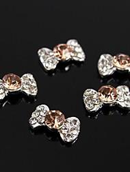 10pcs champanhe gravata borboleta acessórios de liga 3d rhinestone para as pontas dos dedos nail art decoração