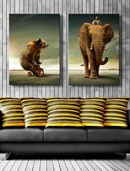 cheap -Stretched Canvas Art Bear And Elephant  Decoration  Set of 2