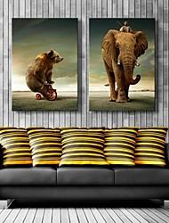 Недорогие -натянутым холстом искусство медведь и слон украшения набор 2