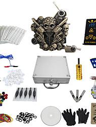economico -1 pistola completare nessun kit tatuaggio con tutti in un cranio macchina modello tatoo e ep-2 di potenza (contenere una valigia)