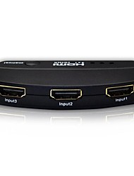 3 Port 1080P HDMI AUTO Switch Splitter Switcher HUB Box Cable LCD HDTV,Metal Housing with Power Adapter Support 3D