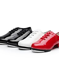 "Women's Tap Ballroom Patent Leather Split Sole Lace-up Low Heel Black White Red 1"" - 1 3/4"" Non Customizable"