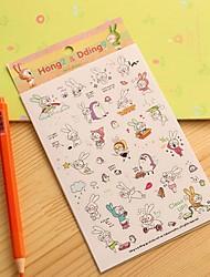 pouco diário coelho adesivo (6 pcs)