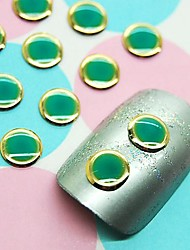 cheap -100PCS Green Round Design Studs with Gold Line Nail Art Decoration
