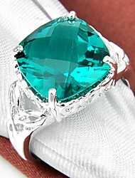 cheap -Square Green Quartz Gemstone Silver Ring 1PC