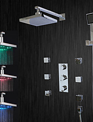 cheap -Contemporary Shower System Rain Shower LED Ceramic Valve Three Handles Five Holes Chrome , Shower Faucet