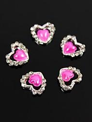 10pcs coeur perle prune strass aiment alliage diy nail art décoration