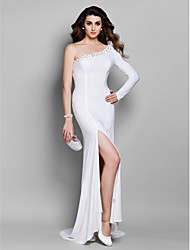 cheap -Mermaid / Trumpet One Shoulder Court Train Jersey Formal Evening Dress with Beading by